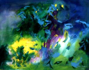 Irgendwo ist immer ein Licht / There is always a light anywhere, 2004, Acryl auf Leinwand, 100 x 130 cm